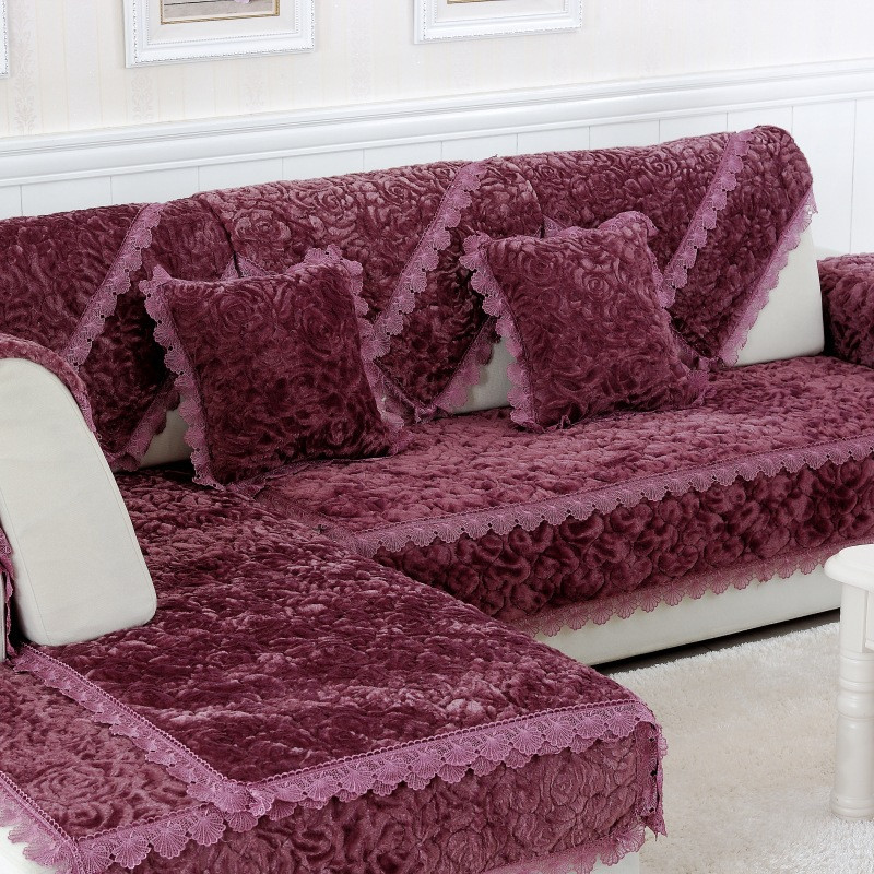 L Shaped Sofa Cover Towel Pads Velvet Fabric Warm Corner