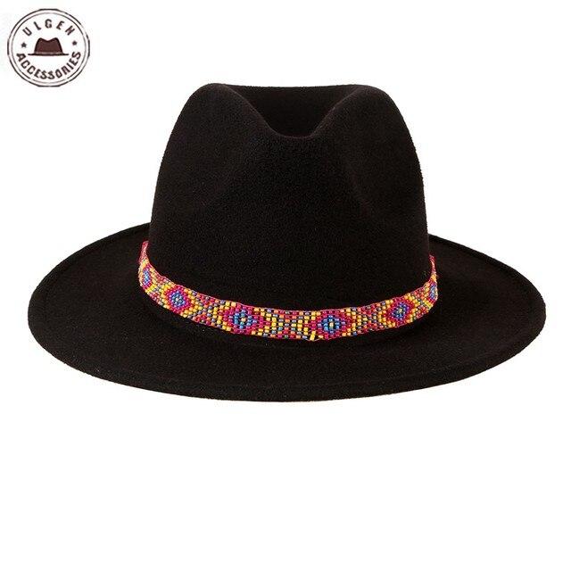 fee91a8050bc3 Ulgen fashion vintage Bohemia hat black fedora hat Women Wide Brim bead  band Warm felt hat