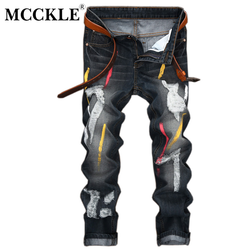 MCCKLE Hip Hop Mens Vintage Paint Ripped Biker Jeans Slim Skinny Denim Pants Casual Distressed Holes Denim Motorcycle Trousers mens casual elastic ripped drape denim hip hop slim fit distressed biker jeans pants black straight pencil trousers multi zipper