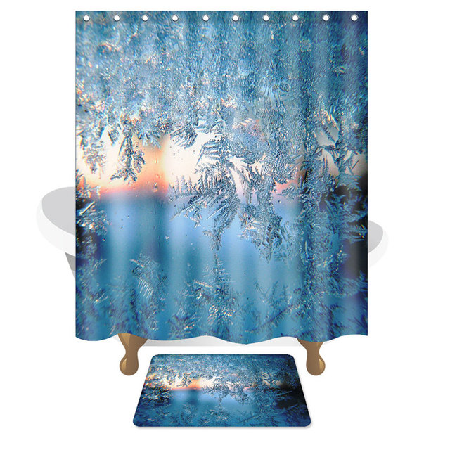 Winter Style Ice Snow Shower Curtain and Bathroom Carpet Blue ...