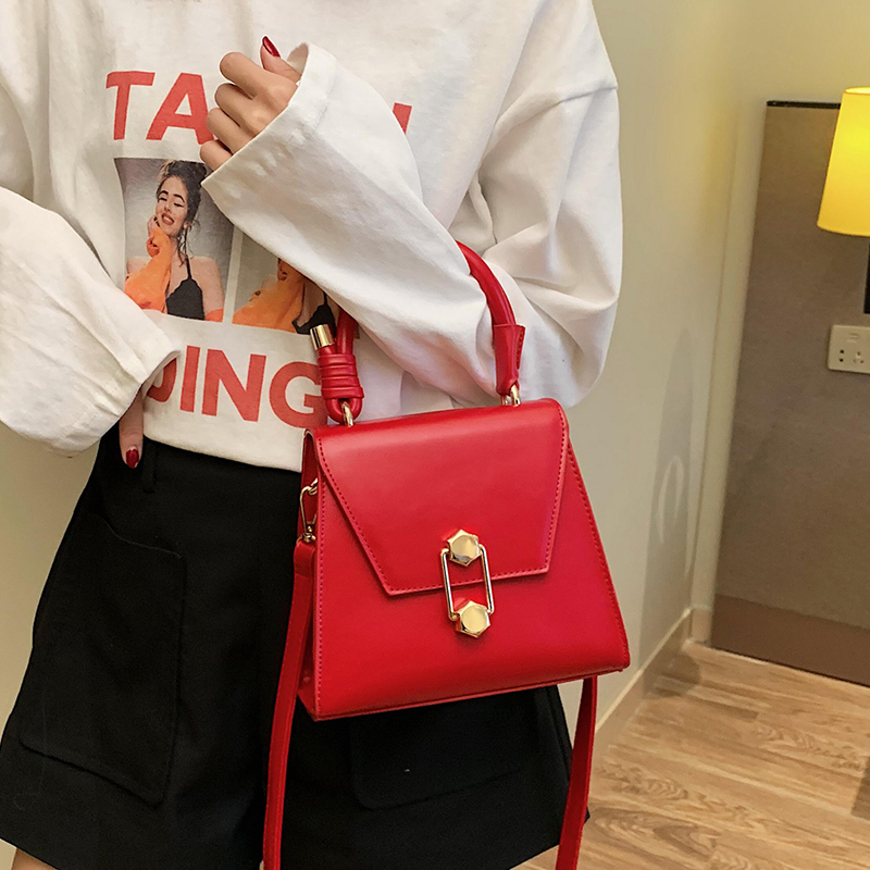 Luxury Handbag Vintage Fashion Female Tote bag 2019 New Quality PU Leather Women's Designer Handbag Lock Shoulder Messenger bags 1