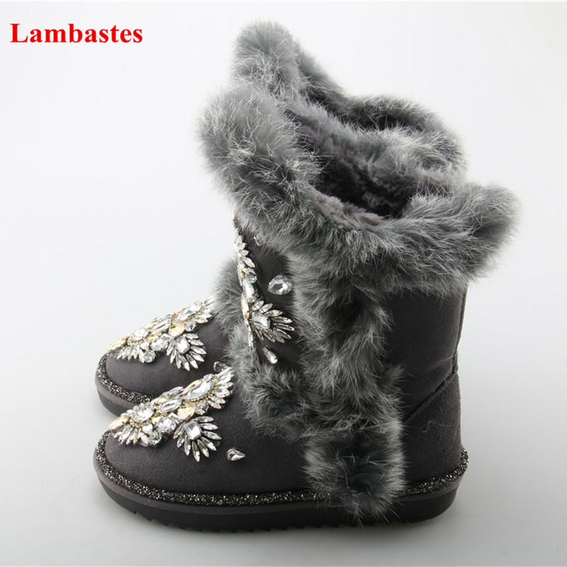 Rhinestone Eebellished Grey Solid Hairy Mid-calf Winter Snow Boots Women Warm Chunky Flock Short Plush Boots Round Toe Shoes hairy maclary shoo