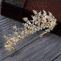 De lujo de Oro de la perla nupcial coronas tiara hecha a mano al por mayor de cristal diadema diadema corona de la reina del pelo de la boda de la boda accesorios