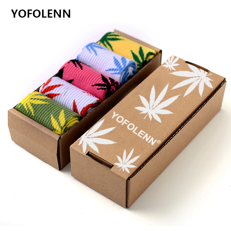 5 Pairs/lot Unisex Women And Men Weed Leaf Socks High Quality Cotton Skateboard Fashion Happy Funny Socks Crew (No Gift Box)