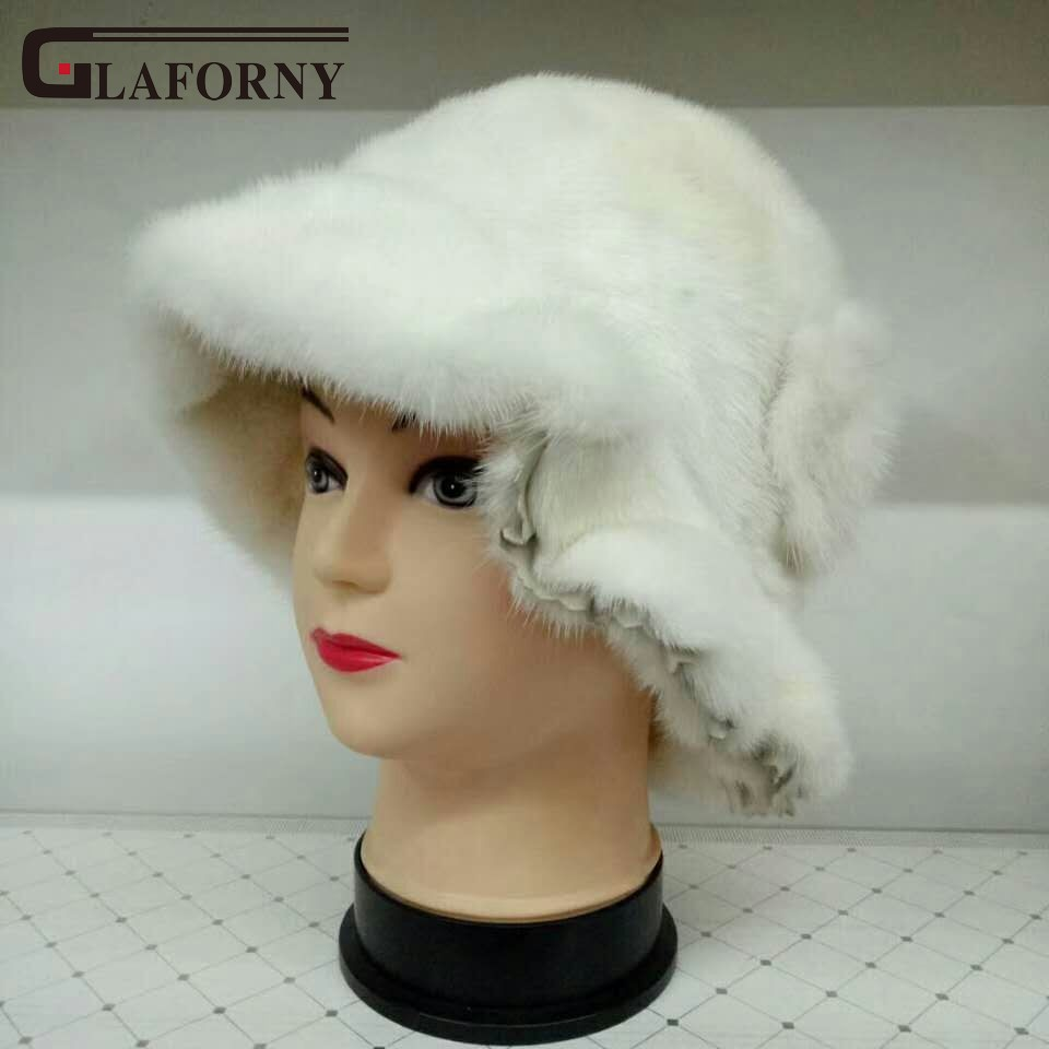 Glaforny 2017 New Fashion Luxury Women Winter Bucket Hat High Quality Europe Whole Mink Fur Hats Caps Warm Beanies Hat Floral