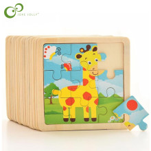 4PCS/lot 3D Wooden Jigsaw Puzzles for Children Kids Toys Cartoon Animal/Traffic Puzzles Baby Educational Puzles Wholesale GYH(China)