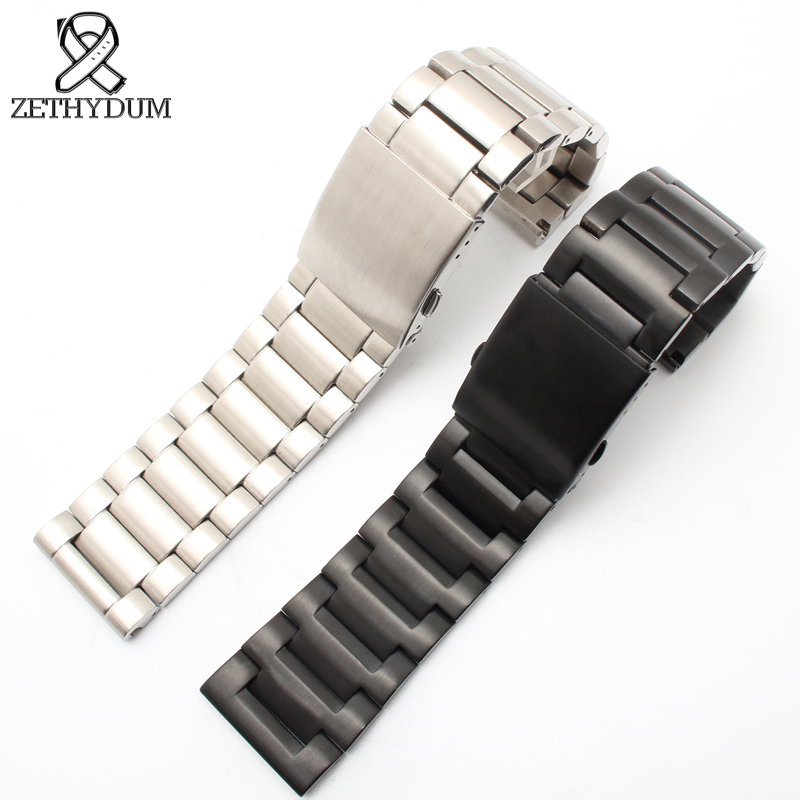 metal watchband 24mm 26mm 28mm Mens watches bracelet solid Stainless Steel watchband Silver/Black color for diesel Watch bands image