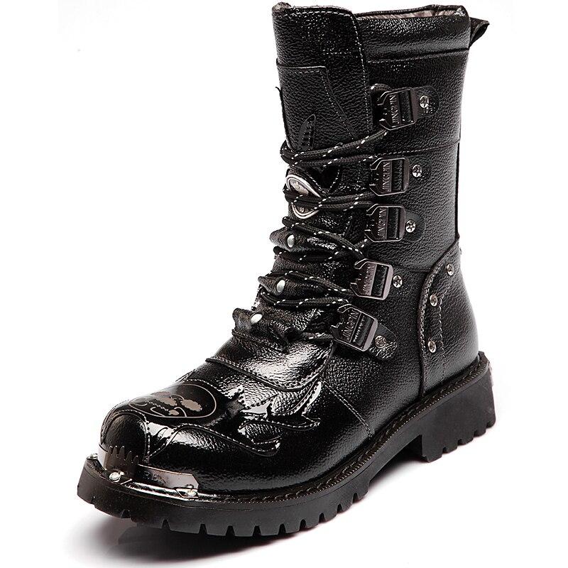 2019 Fashion Men Spring Autumn Motorcycle Martin Boots British Style Gothic Punk Thick Warm Black Shoes Plus Size 38--44