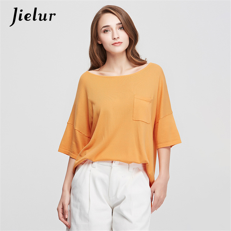 Spring Summer New Casual T-shirts for Women Solid Color Loose Knitted Pullovers Pocket Half Batwing Sleeve Top Female Clothes