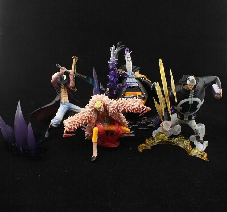 4pcs/set Mihawk Bartholemew Kuma Gekko One Piece Action Figures Anime PVC brinquedos Collection Figures toys AnnO00510A hot sale 26cm anime shanks one piece action figures anime pvc brinquedos collection figures toys with retail box free shipping