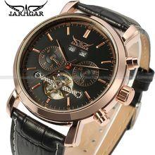 2016 JARAGAR Moda Montre Homme Relojes Toubillion Hombre Negro Esfera Del Reloj Para Hombre Reloj de Pulsera Mecánico Caja de Regalo Envío Gratis