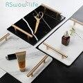 Natürliche Marmor Keramik Tray Home Lagerung Trays Dekorative Display Trays Licht Luxus Kosmetik Schmuck Platte Tablett