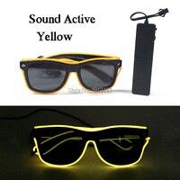 Brand Design Neon Led Bulbs Christmas Sunglasses with Dark Lens 10Pcs EL Cable Tube Glittery Twinkle Eyeglasses for Birthday