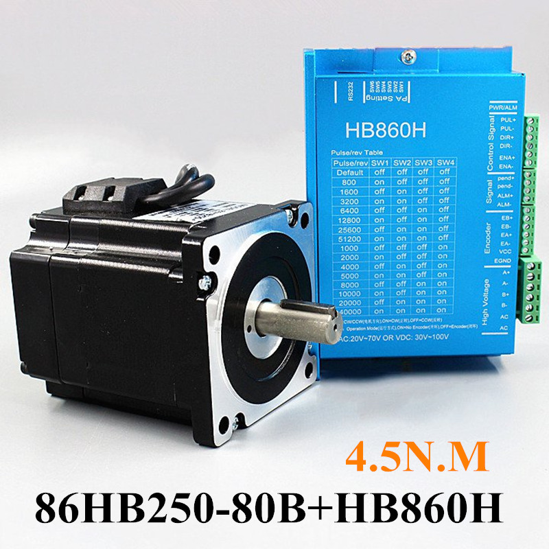1Set Nema34 Closed Loop Servo motor Motor Kits Closed-Loop Driver   HB860H+86HB250-80B 4.5N.m 86mm motor Hybrid Step-servo Drive nema23 3phase closed loop motor hybrid servo drive hbs507 leadshine 18 50vdc new original