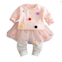 赤ちゃんの女の子服セットプリンセスtシャツ+レギンスキュロットツーピーススーツ長袖幼児princess tutu dress衣装セッ