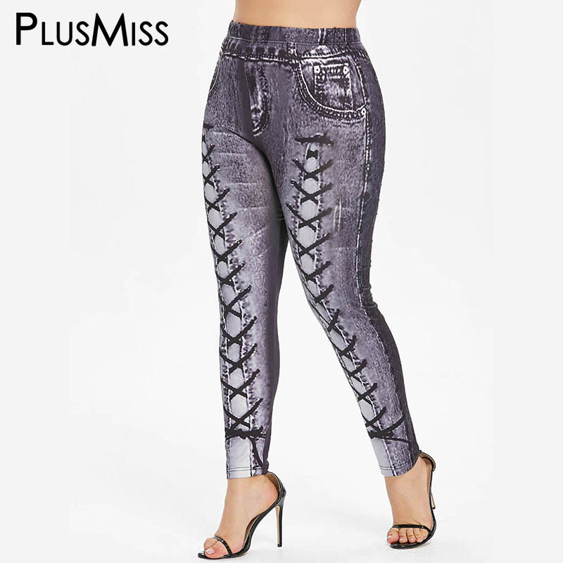 PlusMiss Plus Size 5XL 3D Jeans Printed Leggings Women Large Size Fitness Jeggings Ladies Leggins Skinny Legins XXXXL XXXL XXL