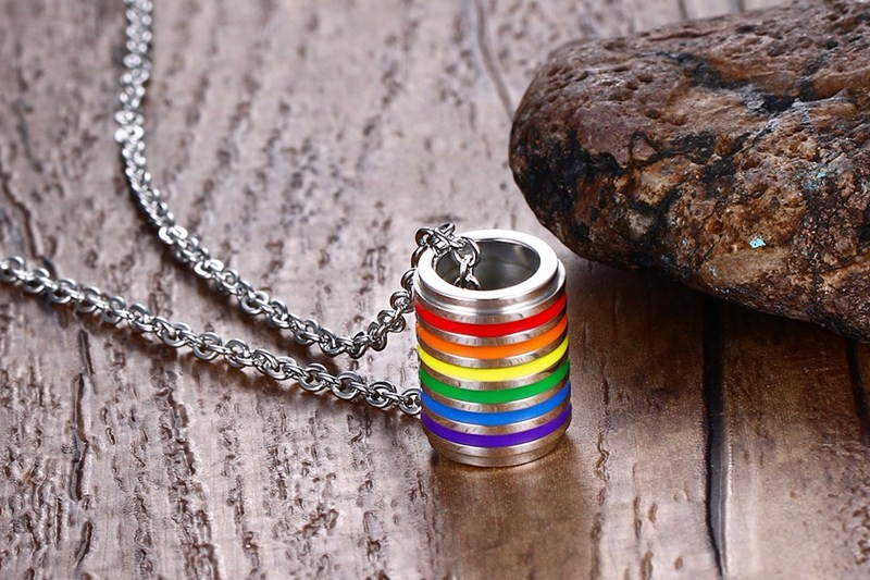 Stainless Steel Rainbow Pendant Necklace