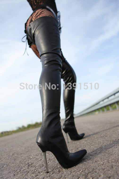Woman In Black Leather Thigh High Boots - Boot Hto