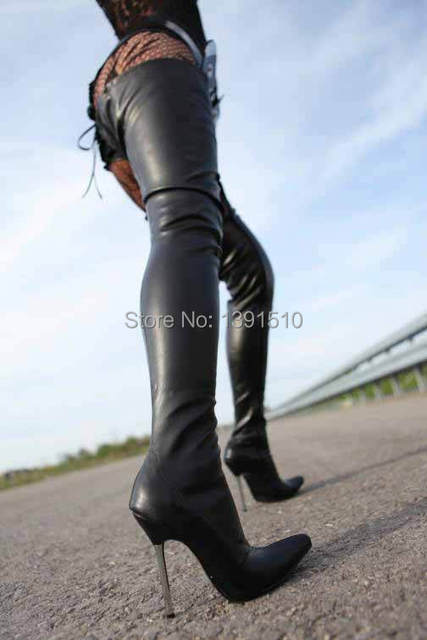 e4ffcd41533d New black Matte PU Leather Thigh High Boots Women Motorcycle Boots ...