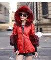 Новый Модный Стиль Женщин Тонкий Зима Теплая Искусственного Меха Кожаное Пальто твердые Pattern Меховым Воротником Женщины Искусственного Меха Жилет Дамы Элегантного Пальто
