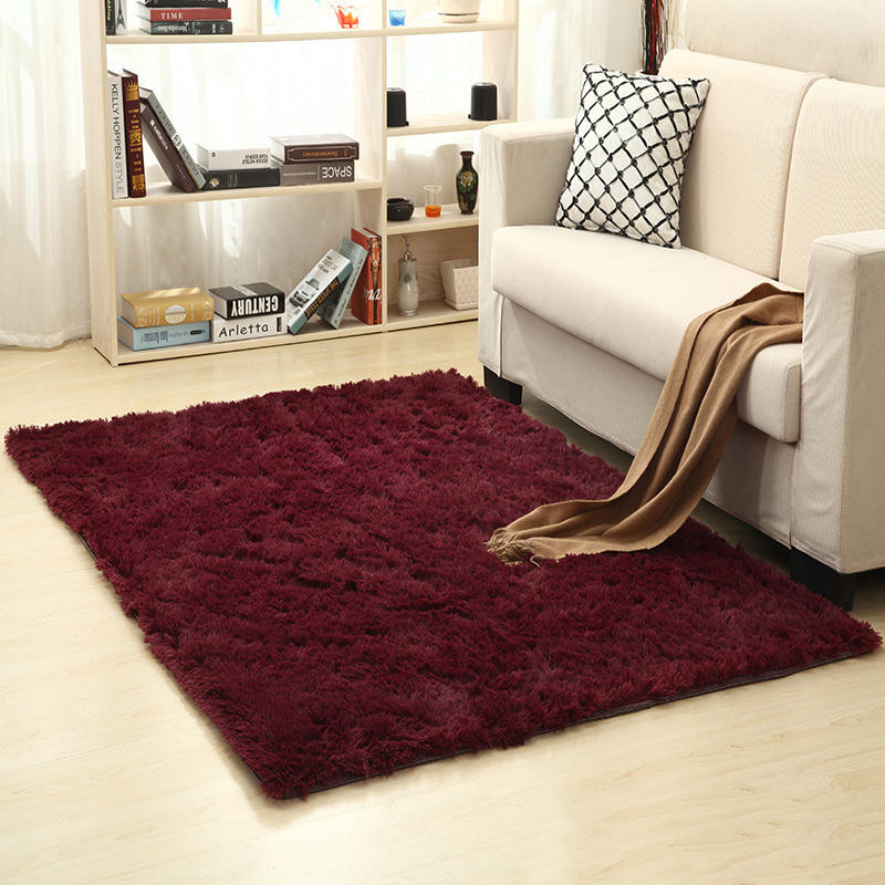 AOVOLL Carpets For Living Room  120x160cm Velvet Fabric Long Wool Carpet Bedroom Rugs Decorate Home Carpet Red Wine Green