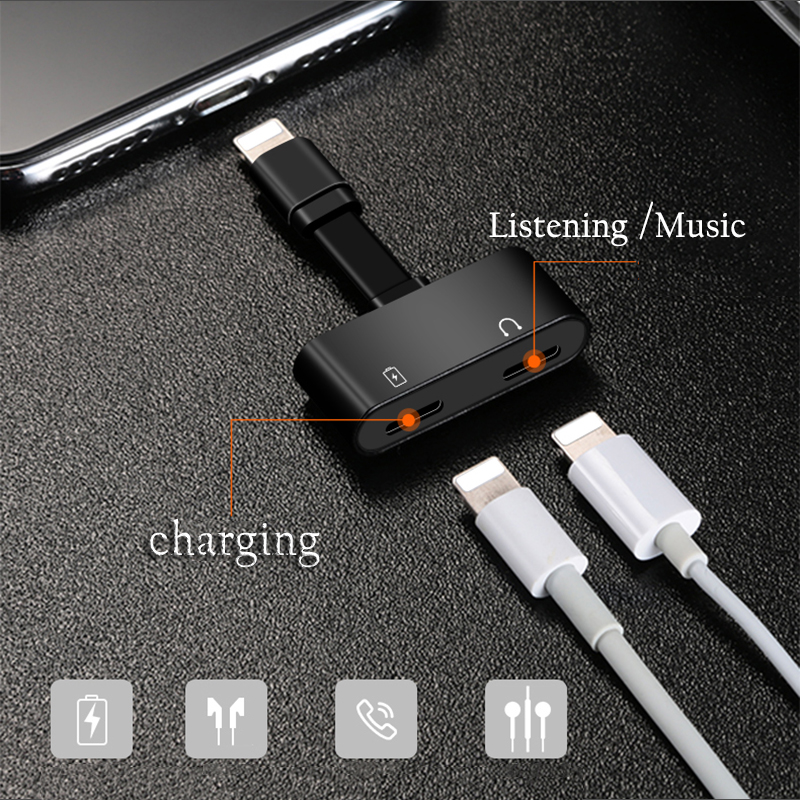 VRURC 2 in 1 For Lightning Adapter For iPhone 7 Charging