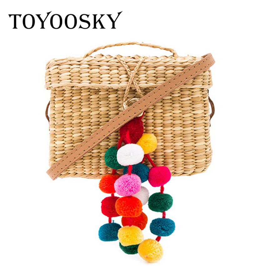 TOYOOSKY 2017 Colorful Ball Mini Beach Bags Luxury Designer Straw Bag Women Handmade Pom Pom Handbags Summer Travel Clutch straw clutch bag with pom pom