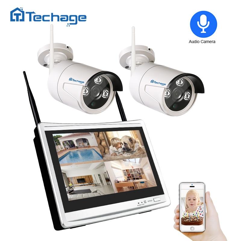 Techage 2 dans 1 4CH 1080 p 12 LCD Sans Fil Système NVR Wifi CCTV En Plein Air 2MP Enregistrement Audio Sonore caméra P2P Vidéo Surveillance Kit