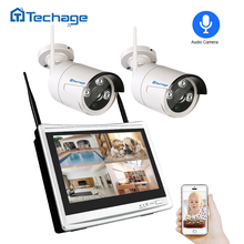 "Techage 2 in 1 4CH 1080P 12"" LCD Wireless NVR Wifi CCTV System Outdoor 2MP Audio Record Sound Camera P2P Video Surveillance Kit"