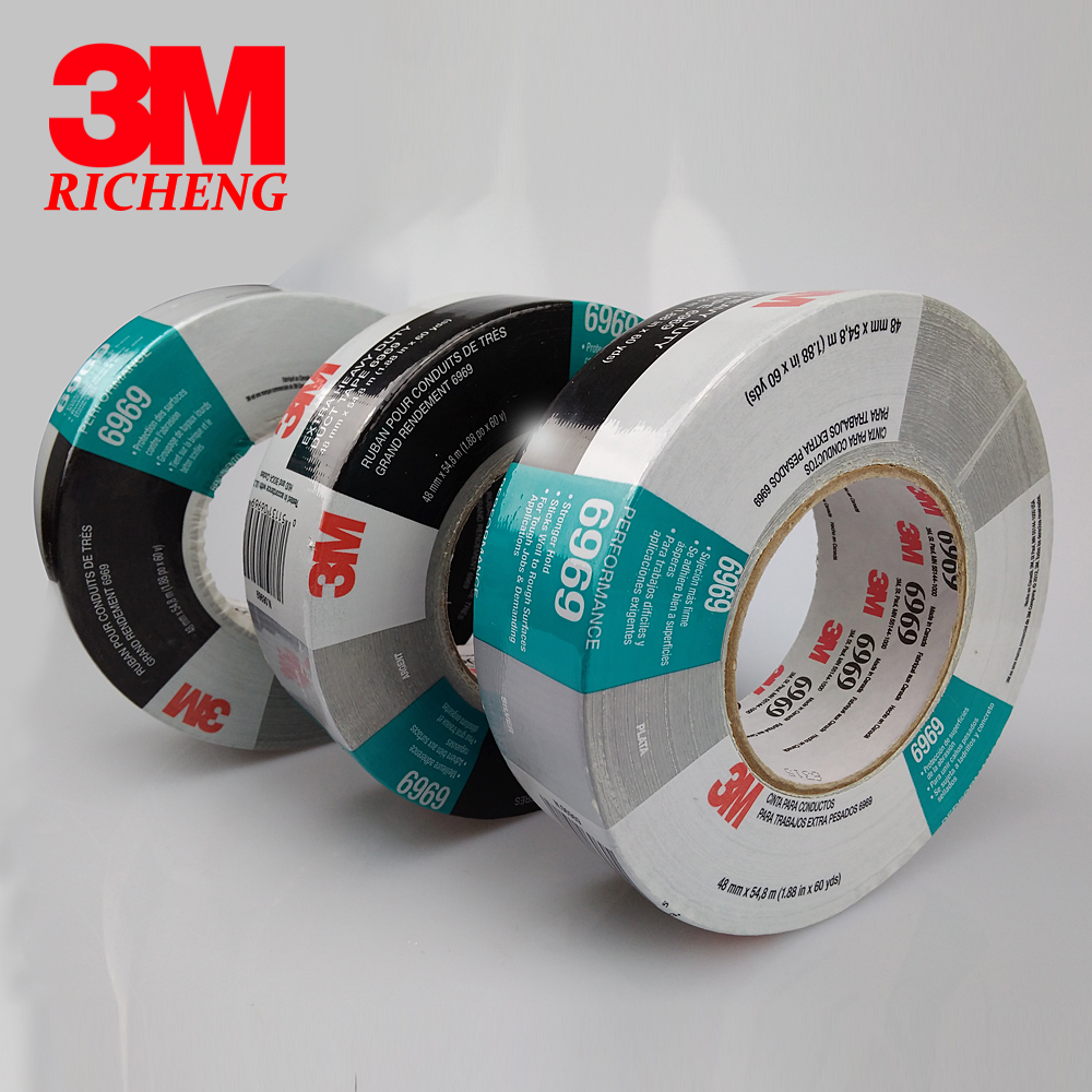 3M 6969Silver Cloth Duct tape/strong water proof single sided tape/48mm*54.8M/Silver color ledron strong silver