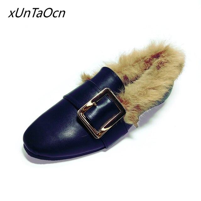Además de terciopelo mujeres pom pom Femeninos Slip on zapatos peludos  Slipony Felpa dama dedo del c2e48d010f0