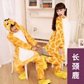 Designer kawaii Anime Animal giraffe Pajamas Adult Unisex Women Men Onesie Polyester Polar Fleece One Piece Sleepwear