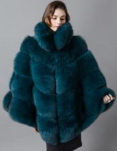 Luxury whole pelt with striped leather female cape style coat 2017 brand design celebrity genuine natural fox fur coats jacket