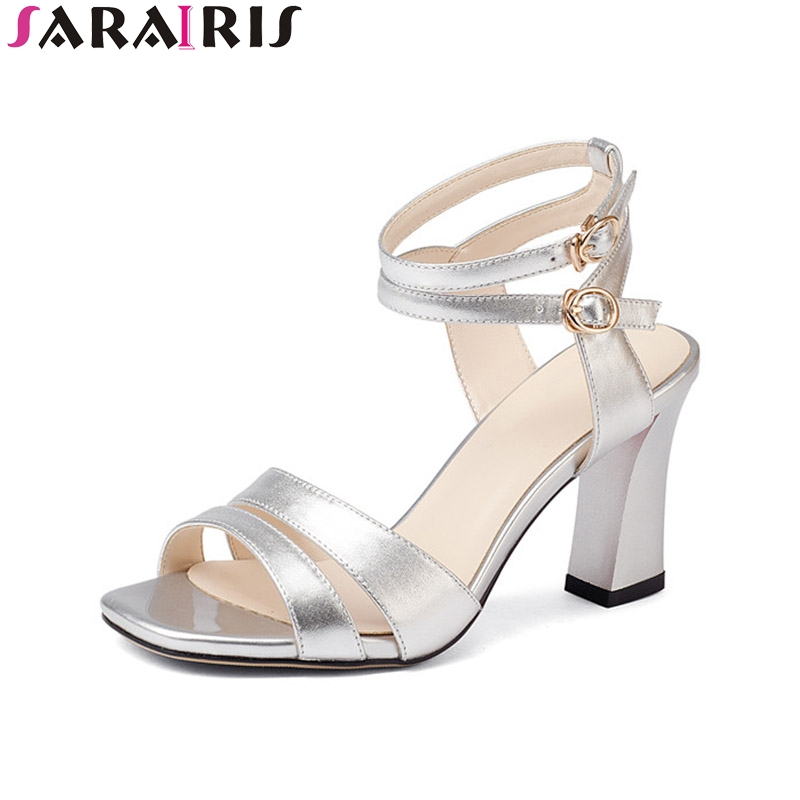 SaraIris 2018 Summer Genuine Leather Mature Ankle Strap Sandals Western Style High Square Heel Women Shoes Size 34-39 TPR rome style rivet nature cow leather sandals 2017 ankle strap flat heel summer shoes woman black white big size 34 43