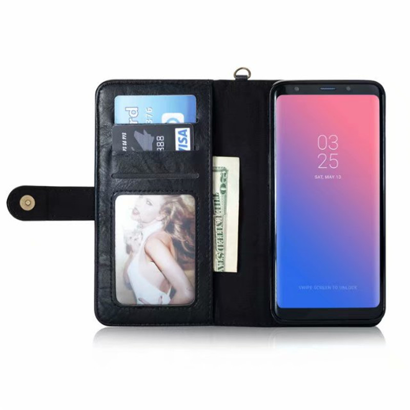 Vintage Multifunction Wallet Leather Flip Card Case For Samsung S6 S7 Edge S8 S9 Plus Note 8 9 Detachable Magnetic Purse Bag in Wallet Cases from Cellphones Telecommunications