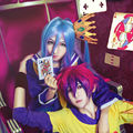 Full Lace Synthetic Wig 32cm Color Mixture Hair And Blue Purple 100cm Long Straight Hair Cosplay Wigs No Game No Life-Sora/White