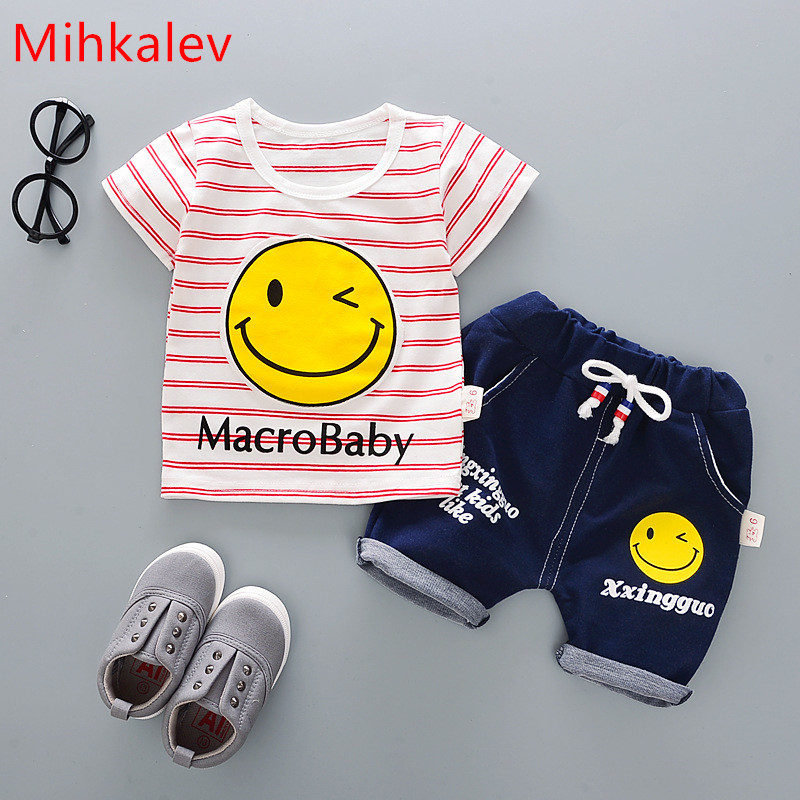 Mihkalev kids clothes boys summer clothes set 2018 leisure todder baby girl clothing sets t shirt +pants children clothes suits