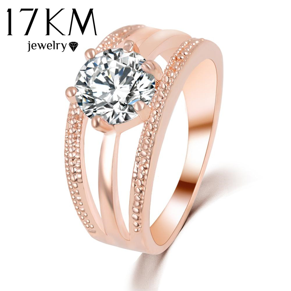 17KM Austrian Crystals Ring Rose Gold Color anelli Flower Ring bague Engagement anillos anel Rings for Women wedding ring<