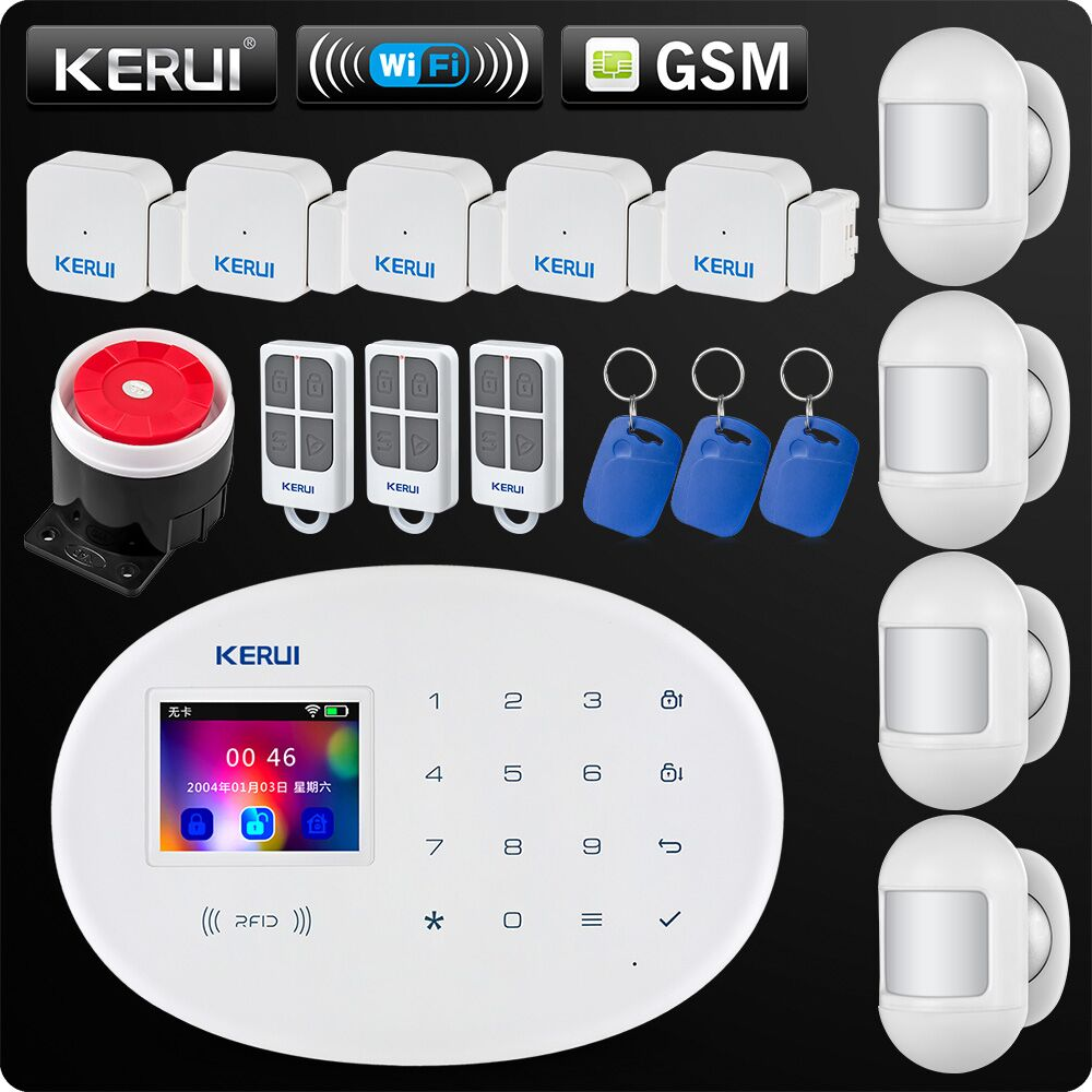 W20 New Model Wireless 2.4 inch Touch Panel WiFi GSM Security Burglar Alarm System APP RFID Card Control Mini Movable PIR Siren-in Alarm System Kits from Security & Protection