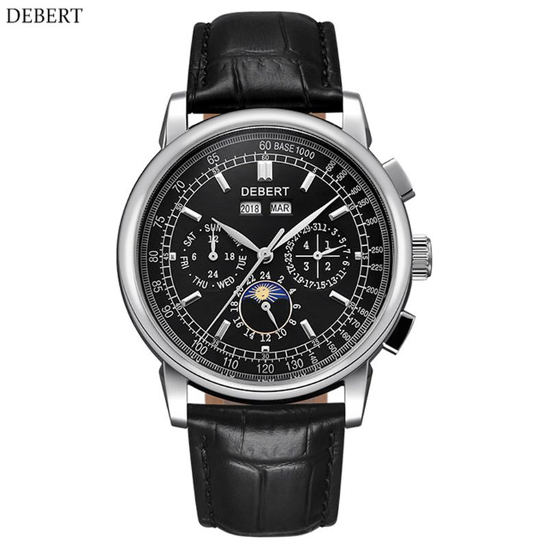 часы мужские механические 316L Stainless Steel Moon Phase Relogio A Prova De Agua Automatic Mechanical Watch Men Montre Homme