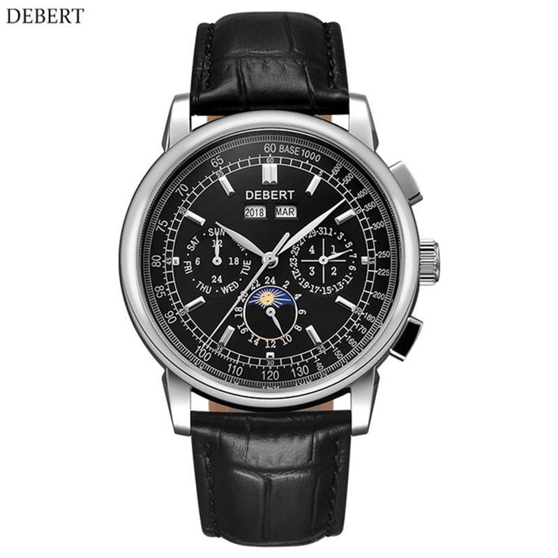 часы мужские механические 316L Stainless Steel Moon Phase Relogio A Prova De Agua Automatic Mechanical Watch Men Montre Homme