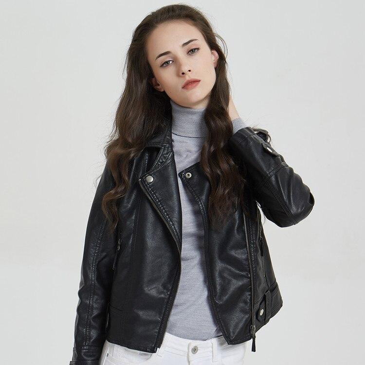 Spring Autumn Women Faux   Leather   Girls Motorcycle Coat Short Slim PU Washed Black   Leather   Jacket Ladies Moto Biker Tops Hot Sale