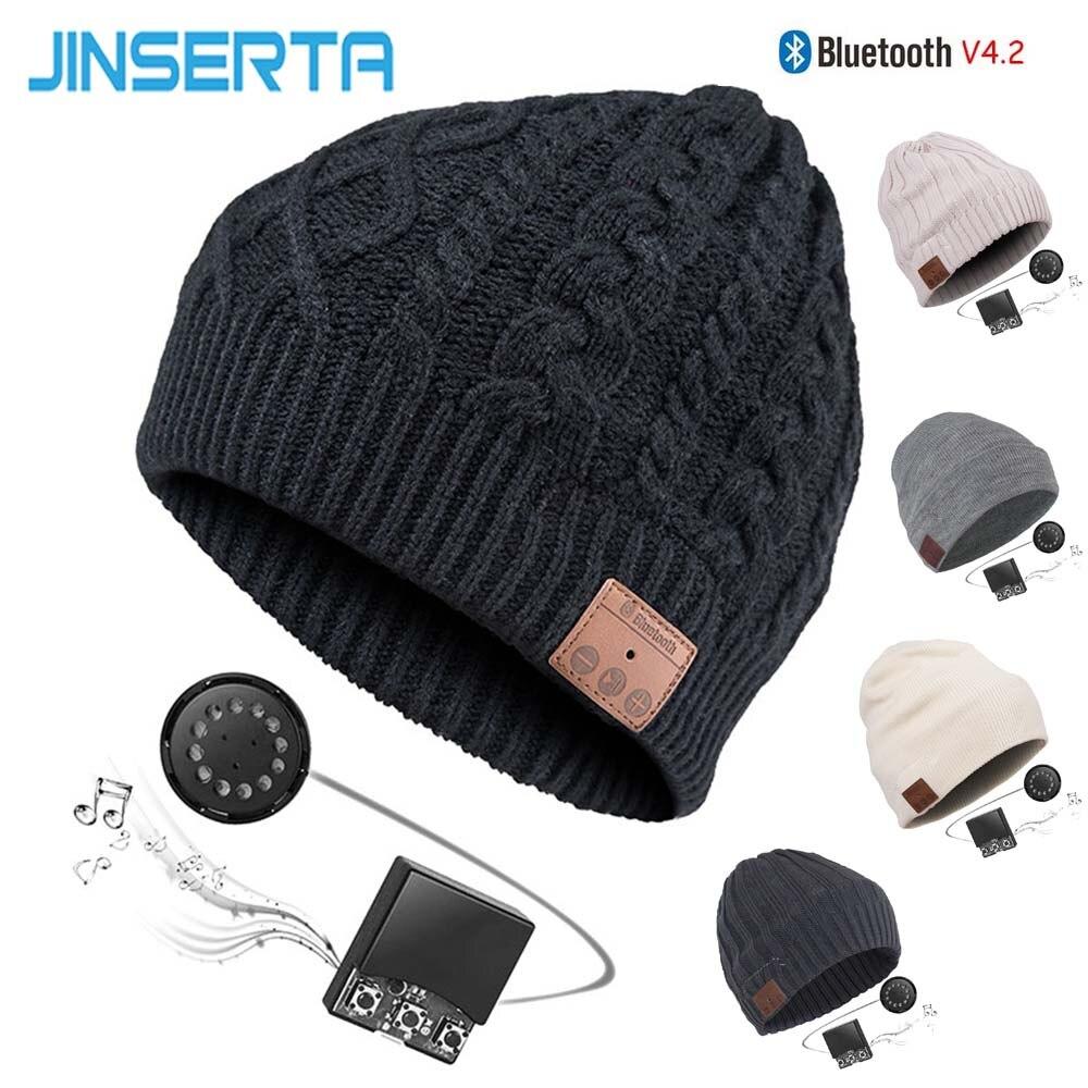 JINSERTA Cap Chapéu De Fone De Ouvido Sem Fio Bluetooth Música Inteligente BT Falante Fone de Ouvido Estéreo com Microfone Handsfree Suporte V4.2 Esporte Ao Ar Livre