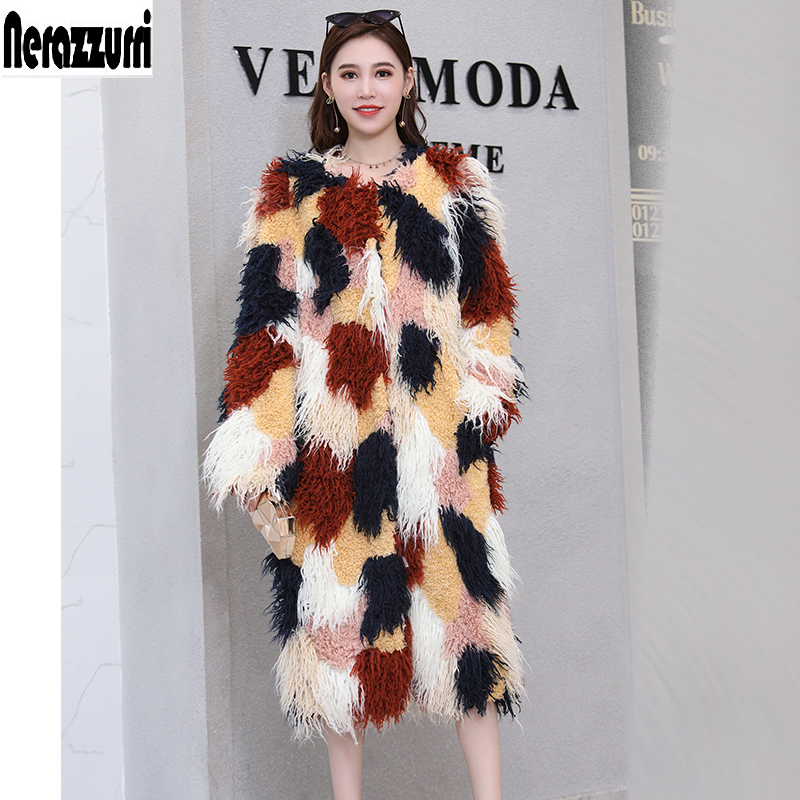 Nerazzurri Multicolor Color Block Faux Fur Coat Casual Highstreet Patchwork Long Sleeve Plus Size Hairy Fake Fur 5xl 6xl 7xl