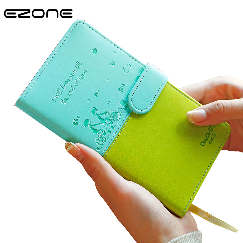 EZONE PU Leather Notebook Cute Candy Color Note Boook Printed Tree/House Notepad Traveler Journey Diary School Office Supply ezone cute cartoon notebook printed kawaii cat note book pu cover with hasp nopated traveler journey diary school office supply