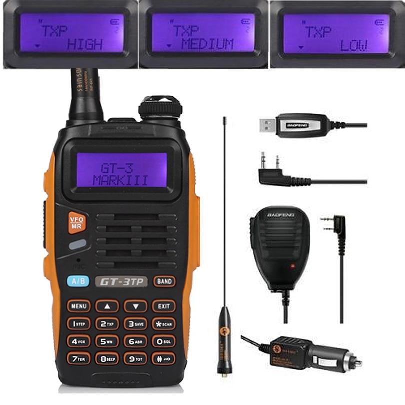 Baofeng GT-3TP Mark III komplekts 1/4 / 8W augstas jaudas VHF UHF divvirzienu radio pārraides pārraide ar skaļruņa USB programmēšanas kabeli