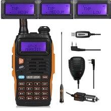 Baofeng GT-3TP Mark III Kit 1/4/8 W de Alta Potencia VHF UHF Radio de dos Vías Walkie Talkie Transciver con Altavoz USB de Programación Cable