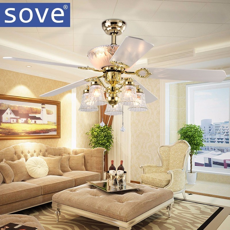 52 pouces Europe or moderne LED en bois ventilateurs de plafond avec lumières télécommande salon chambre maison ventilateur lampe 220 volts