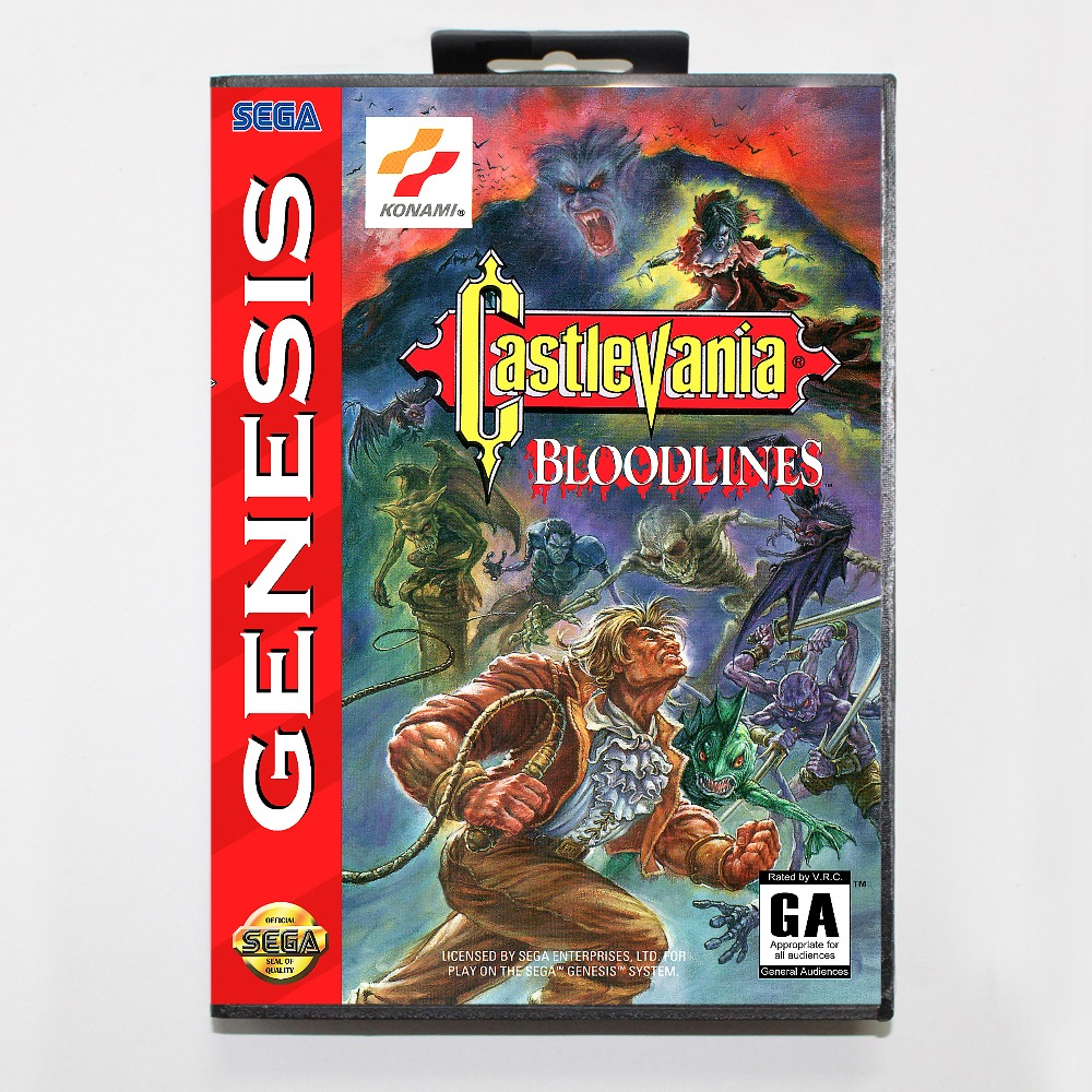 New 16 bit MD game card - castlevania bloodlines with Retail box For Sega genesis system image