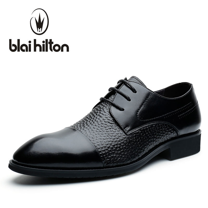 Blaibilton Formal Dress Men Shoes Oxford 100% Genuine Leather Elegant Business Classic Office Wedding Mens Casual Italian SD7103 top quality crocodile grain black oxfords mens dress shoes genuine leather business shoes mens formal wedding shoes